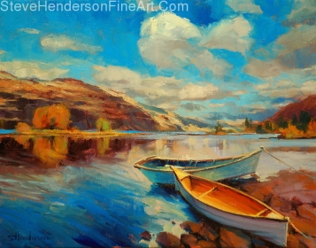 Shore Leave inspirational oil painting of rowboats on Columbia River by Steve Henderson