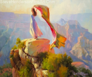 Spirit of the Canyon inspirational oil painting girl on rock in Grand Canyon Colorado by Steve Henderson