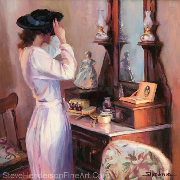 The New Hat inspirational 1940s nostalgia oil painting of young woman in dress and blue hat inf front of mirror and dressing table by Steve Henderson