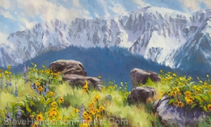 The Land of Chief Joseph inspirational original oil painting of mountain meadow and rocks by Steve Henderson