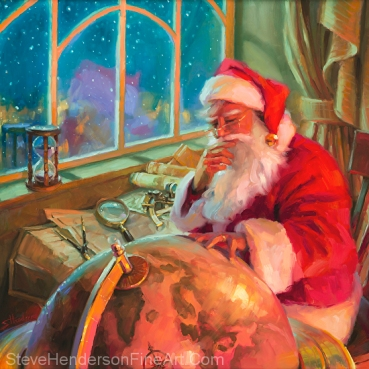 The World Traveler inspirational oil painting of Santa at North Pole with world globe by Steve Henderson