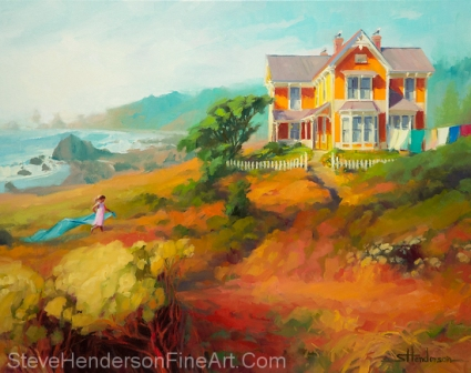 wild child little girl running through meadows by sea and Victorian house oil painting by Steve Henderson