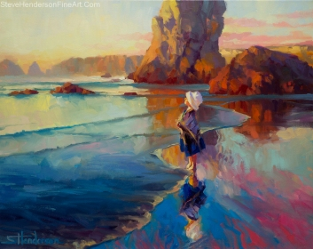 Bold Innocence inspirational oil painting of little girl standing on ocean beach by Steve Henderson licensed prints at Great Big Canvas iCanvasART and Framed Canvas Art
