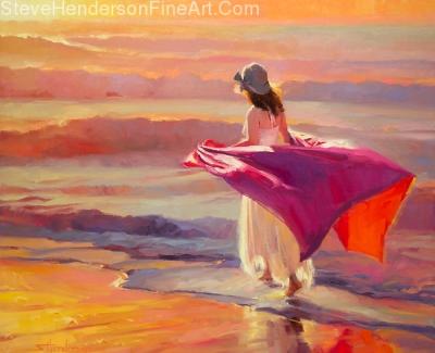 Catching the Breeze inspirational original oil painting of woman walking along ocean sea beach by Steve Henderson