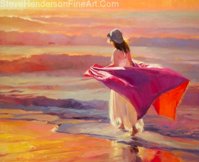 Catching the Breeze inspirational original oil painting of woman walking along ocean sea beach by Steve Henderson