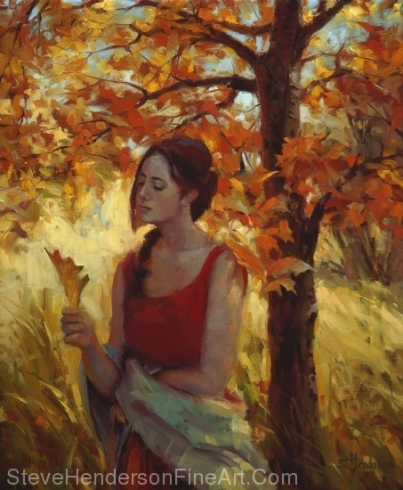 Contemplation inspirational original oil painting of girl with autumn leaves orange and red next to tree by Steve Henderson