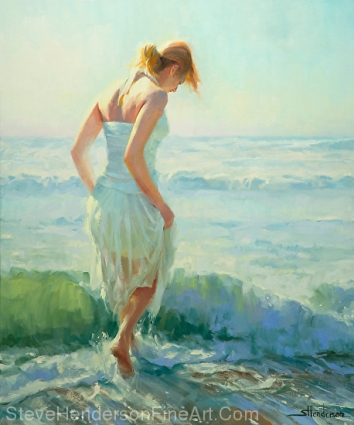 Gathering Thoughts inspirational original oil painting of woman in dress walking through ocean surf by Steve Henderson