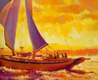 Golden Opportunity inspirational original oil painting of sailboat at sunset on sea by Steve Henderson