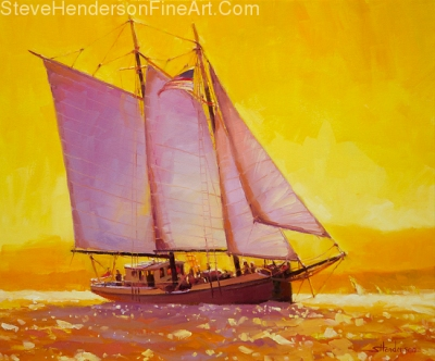 Golden Sea inspirational original oil painting of sailboat on sunset sea by Steve Henderson