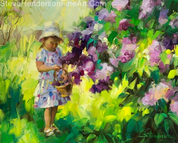 Lilac Festival inspirational original oil painting of toddler girl in garden picking flowers on bush by Steve Henderson
