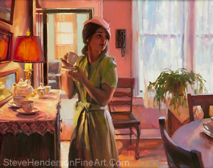 MIdday Tea inspirational original oil painting of woman in 1940s nostalgia with tea cups in Victorian dining room by Steve Henderson
