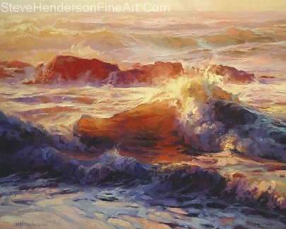 Opalescent Sea inspirational original oil painting of oceans waves by Steve Henderson