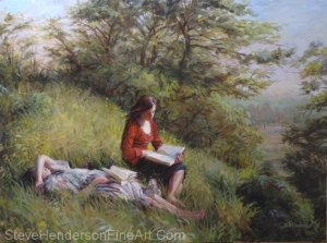 Provincial Afternoon inspirational original oil painting of two girls reading in meadow by Steve Henderson