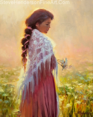 Queen Anne's Lace inspirational original oil painting of girl with shawl in flower meadow meditating by Steve Henderson