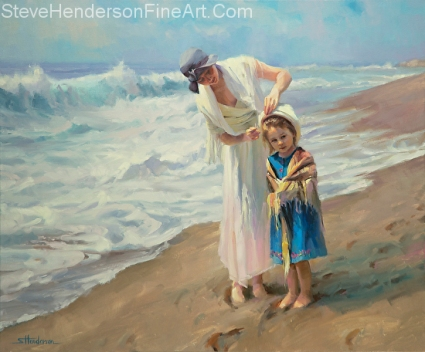 Beachside Diversions inspirational original oil painting of young woman with hat and shawl and young child on ocean beach by Steve Henderson
