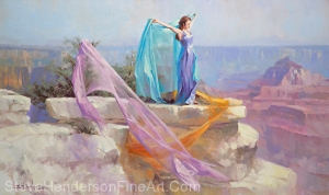 Diaphanous inspirational original oil painting of young woman in lilac dress and fabric at Grand Canyon National Park by Steve Henderson