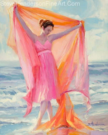Grace inspirational original oil painting of woman dancing on beach by Steve Henderson licensed print at Framed Canvas Art and amazon.com