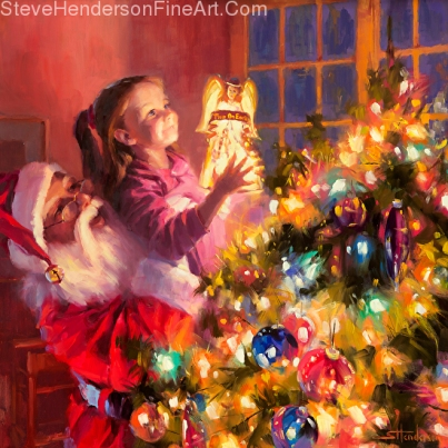Little Angel Bright inspirational original oil painting of Santa and little girl by Steve Henderson, licensed print at iCanvasART