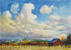 Lonesome Barn inspirational original watercolor of meadow and clouds by Steve Henderson
