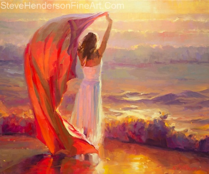 Ocean Breeze inspirational original oil painting of woman in white dress and with fabric on beach at sunset by Steve Henderson