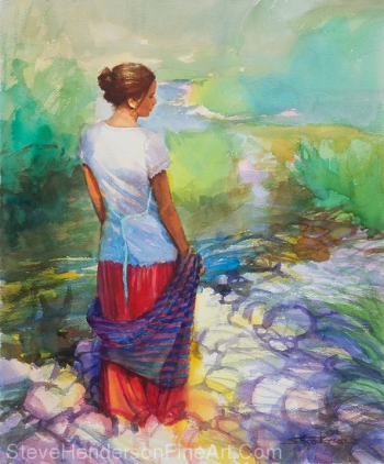 Riverside Muse inspirational original watercolor painting of woman by river with shawl licensed prints at iCanvasART and Framed Canvas Art by Steve Henderson