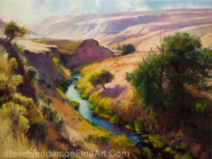 The Pataha inspirational original oil painting of southeastern Washington Pacific Northwest canyon by Steve Henderson