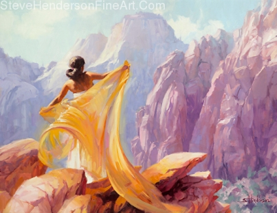 Dream Catcher woman at canyon with shawl cloth by Steve Henderson licensed prints at Framed Canvas Art, Art.com, Amazon.com, and icanvasart