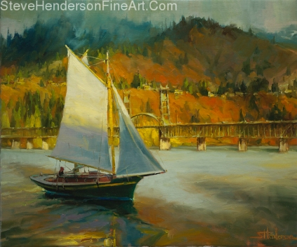 Autumn Sail inspirational original oil painting of sailboat on Columbia River Gorge by Steve Henderson licensed prints at Great Big Canvas iCanvasART and Framed Canvas Art