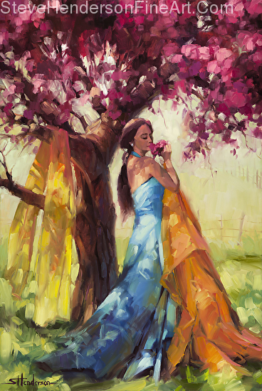 Blossom inspirational original oil painting of woman by fruiting and flowering tree by Steve Henderson licensed prints at Framed Canvas Art and amazon.com