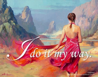 Cadence inspirational original oil painting of woman in pink dress on ocean beach by Steve Henderson licensed prints at Great Big Canvas, iCanvasART, and Framed Canvas Art
