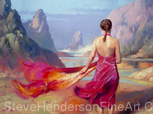 Cadence inspirational original oil painting of woman in pink dress walking on ocean beach by Steve Henderson licensed prints at Great Big Canvas, iCanvasART, and Framed Canvas Art