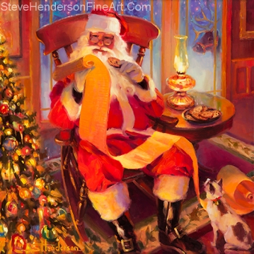 The Christmas List inspirational original oil painting of Santa in North Pole with reindeer by Steve Henderson licensed print at iCanvasART and discount decorative flags