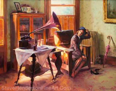 Ending the Day on a Good Note inspirational original oil painting 1940s nostalgia by Steve Henderson