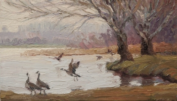 Geese on the Snake inspirational original oil painting by Steve Henderson