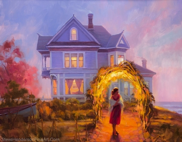 Lady in Waiting inspirational original oil painting of woman by Victorian house at sea by Steve Henderson, licensed prints at icanvasart, framed canvas art, and amazon.com.