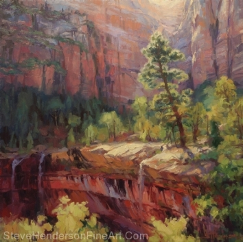 Last Light in Zion National Park inspirational original oil painting by Steve Henderson licensed prints at Great Big Canvas, iCanvasART, Framed Canvas Art. Art.com, and Vision Art Galleries