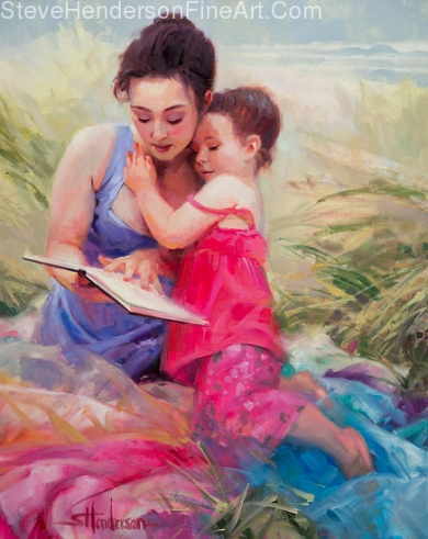 Seaside Story inspirational original oil painting of girl and parent on ocean beach reading by Steve Henderson licensed prints at Great Big Canvas, iCanvasART, and Framed Canvas Art