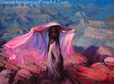 She Danced by the Light of the Moon inspirational original oil painting of woman with pink cloth in Grand Canyon by Steve Henderson, licensed prints at art.com, amazon.com, Framed Canvas Art, and Great Big Canvas