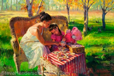 Afternoon Tea inspirational original oil painting of young woman and little girl in meadow with chickens in background by Steve Henderson, licensed prints at Great Big Canvas, iCanvasART, Framed Canvas Art, amazon.com, and art.com.