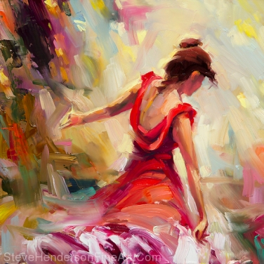 Dancer inspirational original oil painting of woman in red flamenco dress against abstract background by Steve Henderson, licensed prints at iCanvasART, Framed Canvas Art, Amazon.com, and Art.com