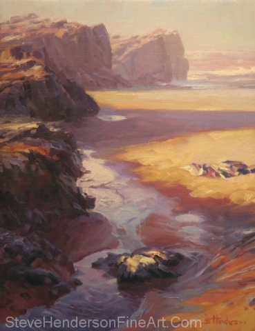 Expose inspirational original oil painting of path on ocean beach by Steve Henderson
