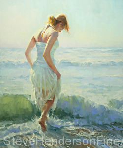 Gathering Thoughts inspirational original painting of young woman wading through ocean surf by Steve Henderson, licensed prints at Great Big Canvas, iCanvasART, amazon.com, art.com, and Framed Canvas Art