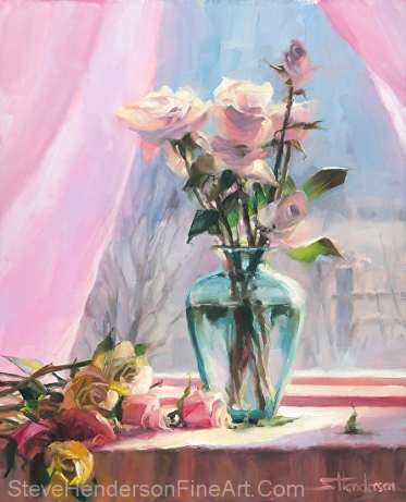 Morning's Glory inspirational original oil painting of still life rose flowers in green glass vase by Steve Henderson