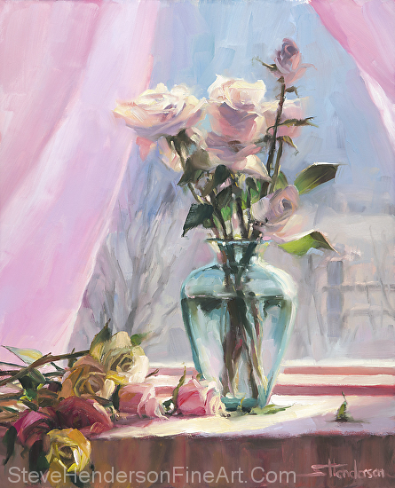 Morning's Glory inspirational original oil painting of still life floral roses in green glass vase by Steve Henderson