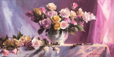 Rhapsody of Roses inspirational original oil painting of floral flower still life by Steve Henderson