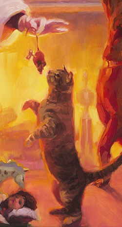Something for Everyone inspirational original oil painting of Santa and a cat with a mouse by Steve Henderson