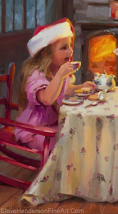 Tea for Two inspirational original oil painting of little girl eating with Santa Claus by Steve Henderson