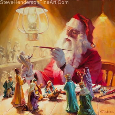 These Gifts Are Better Than Toys inspirational original oil painting of Santa painting nativity set by Steve Henderson licensed prints at icanvasart and give write cards