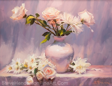 White is actually a complicated color, incorporating hues from all spectrums of the rainbow. White on White, original oil painting by Steve Henderson.