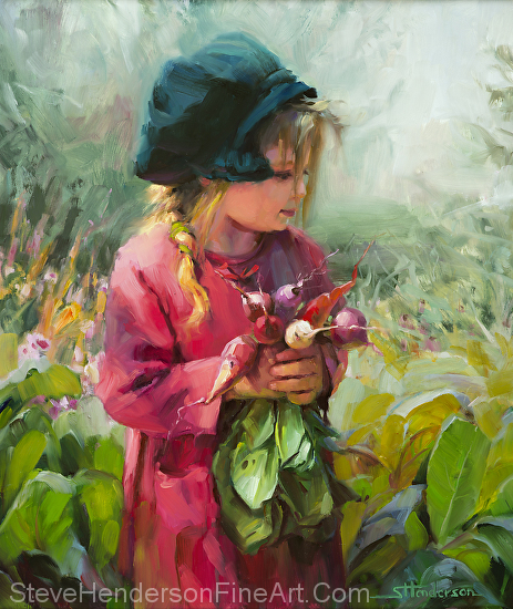 Child of Eden inspirational original oil painting of little girl with green hat and radishes in garden, by Steve Henderson, licensed prints at icanvas, amazon.com, and Framed Canvas Art